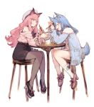 2girls ahoge animal_ear_fluff animal_ears animare bare_shoulders belt black_skirt blue_eyes blue_hair blue_jacket blush bowl braid chair chopsticks commentary_request dress eating food_in_mouth frown full_body hair_ornament hairclip hat heart heart_hair_ornament high_heels highres holding holding_bowl holding_chopsticks jacket junwool long_hair medium_hair multiple_girls off-shoulder_sweater off_shoulder open_clothes open_jacket pantyhose pink_cardigan pink_dress pink_eyes pink_hair ribbon-trimmed_legwear ribbon_trim simple_background single_braid sitting sketch skirt sleeveless sleeveless_turtleneck socks souya_ichika sweater table tail tied_sleeves turtleneck umori_hinako very_long_hair white_background white_legwear wide_sleeves