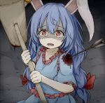 1girl animal_ears arrow arrow_in_body blood blood_stain blue_dress blue_hair commentary_request dress dripping ear_clip holding_mallet injury kine long_hair looking_at_viewer looking_up low-tied_long_hair neko_mata open_mouth rabbit_ears red_eyes scared seiran_(touhou) shaded_face short_sleeves solo tears touhou wide-eyed