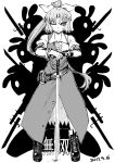 1girl animal_ears ankle_boots bayonet belt blackcat_(pixiv) boots bow bracelet collared_shirt cracked_floor cross-laced_footwear dated dress frown greyscale gun hair_bow highres jewelry lace-up_boots long_dress long_hair looking_at_viewer monochrome one_eye_closed pose rabbit rabbit_ears rifle serious shadow shirt short_hair_with_long_locks short_sleeves silhouette sword touhou translation_request v-shaped_eyebrows watatsuki_no_yorihime weapon