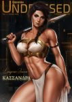 1girl 2019 armlet assassin's_creed:_odyssey assassin's_creed_(series) bandeau bare_shoulders black_hair braid breasts brown_eyes character_name cleavage cleavage_cutout collarbone commentary contrapposto cover dandon_fuga english_commentary erect_nipples eyeshadow fake_cover greek_text hair_over_shoulder highres holding holding_weapon kassandra_of_sparta lips long_braid looking_at_viewer magazine_cover makeup march medium_breasts medium_hair navel nose o-ring pelvic_curtain pinup realistic scar single_braid solo standing stomach sword thick_eyebrows thighs toned weapon