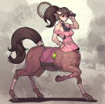1girl ball bangs brown_hair centaur fengmo full_body halterneck hand_on_hip hooves horse_tail leg_up looking_at_viewer monster_girl off_shoulder original over_shoulder pink_shirt pointy_ears ponytail racket shirt smile solo sportswear tail tennis tennis_ball tennis_racket