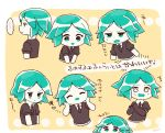 1other androgynous chibi chiyoko_(oman1229) closed_eyes elbow_gloves gem_uniform_(houseki_no_kuni) gloves green_eyes green_hair happy houseki_no_kuni necktie open_mouth phosphophyllite pout short_hair smile solo surprised translation_request