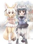 2girls animal_ear_fluff animal_ears blonde_hair blush bow bowtie brown_eyes center_frills commentary_request common_raccoon_(kemono_friends) elbow_gloves extra_ears eyebrows_visible_through_hair fangs fennec_(kemono_friends) fox_ears fox_tail full_body fur_trim gloves grey_hair hands_on_hips highres kemono_friends kolshica multicolored_hair multiple_girls open_mouth pantyhose pleated_skirt puffy_short_sleeves puffy_sleeves raccoon_ears raccoon_tail short_hair short_sleeves skirt tail thigh-highs white_hair zettai_ryouiki