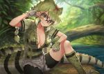 1girl :3 adjusting_hair bike_shorts bike_shorts_under_shorts boots braid breasts cleavage collarbone commentary crocodile_tail day eyebrows_visible_through_hair fingerless_gloves gloves green_eyes green_hair grey_shorts guchico hair_ribbon head_tilt kemono_friends knee_boots large_breasts long_hair looking_at_viewer multicolored_hair nature outdoors over-rim_eyewear red_ribbon ribbon semi-rimless_eyewear short_sleeves shorts sitting slit_pupils smile solo spectacled_caiman_(kemono_friends) spiked_gloves twin_braids v-shaped_eyebrows