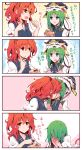 2girls 4koma arms_up bending_forward blue_eyes blue_vest blush chocolate clenched_hands comic commentary_request eating embarrassed epaulettes eyebrows_visible_through_hair flying_sweatdrops full-face_blush green_hair hair_bobbles hair_ornament hair_over_eyes hands_over_mouth hat hat_loss highres kiss kitsune_maru light_smile looking_at_another multiple_girls onozuka_komachi open_mouth parted_lips puffy_short_sleeves puffy_sleeves red_eyes redhead shiki_eiki shirt short_hair short_sleeves sidelocks thick_eyebrows touhou translation_request twintails vest white_shirt yuri