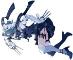 1girl blue_bow blue_eyes blue_footwear blue_scarf blue_skirt blue_vest bow braid commentary_request garter_straps gloves green_bow hair_bow high_heels highres holding holding_knife holding_weapon holster ikurauni izayoi_sakuya knife knives_between_fingers long_sleeves looking_at_viewer maid maid_headdress pocket_watch scarf shirt short_hair silver_hair simple_background skirt skirt_set solo thigh-highs thigh_holster thighs touhou vest watch weapon white_background white_gloves white_legwear white_shirt