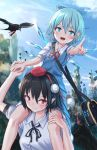 2girls :d arm_up bag bangs black_hair black_neckwear black_ribbon blue_bow blue_eyes blue_hair blue_skirt blue_sky blue_vest blush bow breasts carrying cirno clouds commentary_request crown day eyebrows_visible_through_hair feet_out_of_frame hair_between_eyes hair_bow hand_holding hand_up hat highres ice ice_wings looking_at_viewer medium_breasts multiple_girls neck_ribbon open_mouth outdoors piggyback pointing pointing_at_viewer pointy_ears pom_pom_(clothes) puffy_short_sleeves puffy_sleeves red_eyes red_neckwear red_ribbon ribbon roke_(taikodon) satchel shameimaru_aya shirt short_hair short_sleeves skirt skirt_set sky smile sweat tassel thighs tokin_hat touhou upper_body vest white_shirt wings