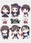 3: 6+girls :3 ^_^ bandanna bangs bish black_dress black_eyes black_hair black_headwear black_skirt blue_skirt blush_stickers brown_hair character_name chibi closed_eyes closed_eyes commentary_request crossed_arms dress frown glasses grey_background grey_legwear grin group_name half-closed_eyes hat highres long_hair long_sleeves multiple_girls pantyhose pinafore_dress pirate_hat poop real_life shirt short_hair skirt smile standing striped suitcase taneda_yuuta vertical_stripes white_shirt