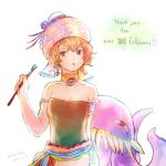 1girl art_brush bare_shoulders blonde_hair blue_eyes breasts commentary_request earrings final_fantasy final_fantasy_vi hat highres jewelry looking_at_viewer monster octopus open_mouth orthros paintbrush relm_arrowny short_hair simple_background solo tentacle white_background