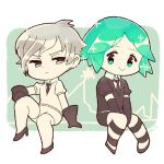 2others :> androgynous antarcticite chibi chiyoko_(oman1229) crystal_hair elbow_gloves frown gem_uniform_(houseki_no_kuni) gloves green_eyes green_hair grey_eyes grey_eyes grey_hair houseki_no_kuni looking_at_viewer multiple_others necktie phosphophyllite short_hair silver_hair sitting smile