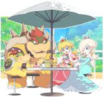 bare_shoulders blonde_hair blue_eyes blush bowser chiko_(mario) crown dress earrings gloves hair_over_one_eye highres jewelry lips long_hair mario_(series) nintendo omochi_(glassheart_0u0) open_mouth pink_dress princess_peach rosalina smile spikes star star_earrings super_mario_bros. super_mario_galaxy