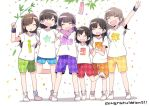 6+girls :d ^_^ ahoge akaneya_himika argyle_shorts arm_around_shoulder bamboo bangs black_hair blue_shorts brown_hair closed_eyes closed_eyes clothes_writing commentary_request confetti congratulations green_shorts group_name hand_holding holding_branch iris_(band) kubota_miyu long_hair multiple_girls open_mouth orange_shorts purple_scarf purple_shorts rainbow_order real_life red_shorts scarf seiyuu serizawa_yuu shibuya_azuki shirt short_hair shorts smile standing standing_on_one_leg sweatband t-shirt tanabata taneda_yuuta tanzaku w wakai_yuuki white_footwear white_shirt yamakita_saki yellow_shorts