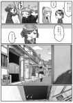 bar bow bowtie comic greyscale highres kishida_shiki monochrome multicolored_hair original personification pipes ponytail saloon saloon_doors school_uniform short_hair sign sneezing streaked_hair wood_gradient_hair