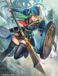 1girl animal aqua_eyes aqua_hair arm_guards armor bird breastplate castle commentary_request company_connection copyright_name day fire_emblem fire_emblem:_souen_no_kiseki helmet holding holding_shield holding_weapon leg_up long_hair nephenee nij_24 nintendo official_art open_mouth outdoors pelvic_curtain polearm shield shoulder_armor solo spear thigh-highs weapon zettai_ryouiki
