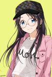 1girl baseball_cap black_hair black_headwear blue_eyes brown-framed_eyewear buttons closed_mouth clothes_writing commentary_request earrings gen_(enji) glasses hat highres hoop_earrings idolmaster idolmaster_shiny_colors jacket jewelry long_hair long_sleeves looking_at_viewer mitsumine_yuika open_clothes open_jacket pink_jacket round_eyewear shirt simple_background solo twitter_username upper_body white_shirt wing_collar yellow_background
