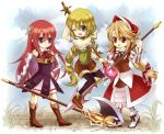 3girls :d aqua_eyes arm_at_side armlet armor armored_dress axe bag bare_shoulders black_choker black_legwear blonde_hair blush blush_stickers bonnet boots bow bracelet braid breasts brown_eyes choker cleavage closed_mouth clouds collarbone cordelia_(saga) corset cowboy_shot cropped_legs cross-laced_clothes day dress dutch_angle elbow_gloves eyebrows_visible_through_hair fantasy floral_background flower from_side gauntlets gloves grass green_eyes green_hair hair_bow hair_ornament hair_ribbon hand_on_hip happy head_scarf janne1230 jewelry knee_boots legwear_under_shorts light_green_hair light_smile long_hair looking_at_viewer looking_away lying medium_breasts midriff multi-tied_hair multiple_girls one_eye_closed open_mouth outdoors pantyhose polearm ponytail pouch premiere primiera_(saga) red_flower red_rose red_skirt redhead ribbon rose saga saga_frontier_2 shorts skirt sky small_breasts smile solo spear staff thigh-highs thigh_boots traditional_media twin_braids very_long_hair virginia_knights weapon