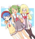 3girls blonde_hair blue_eyes blue_hair creatures_(company) game_freak glasses green_eyes green_hair lillie_(pokemon) mao_(pokemon) mei_(maysroom) multiple_girls nintendo pokemon pokemon_(anime) pokemon_sm_(anime) school_uniform suiren_(pokemon)