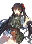 1girl :d bag belt belt_pouch black_hair blue_shirt brown_eyes camouflage commentary_request cowboy_shot fang fangdan_runiu girls_frontline gun hair_ribbon hand_up holding holding_gun holding_weapon holster long_hair long_sleeves looking_at_viewer military military_uniform miniskirt open_mouth pleated_skirt pouch qbz-97 qbz-97_(girls_frontline) red_ribbon ribbon shirt shoulder_bag sidelocks simple_background skirt smile solo standing thighs twintails uniform very_long_hair vest weapon white_background white_skirt