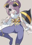 1girl antennae bee_girl black_sclera breasts commentary_request cosplay covered_navel grey_background hair_over_one_eye highres insect_girl leg_up little_witch_academia medium_breasts monster_girl nail_polish open_mouth popopo purple_hair q-bee q-bee_(cosplay) red_eyes sharp_teeth short_hair simple_background smile solo sucy_manbavaran teeth vampire_(game) white_nails wings