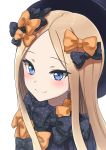 1girl abigail_williams_(fate/grand_order) bangs black_bow black_dress black_headwear blonde_hair blue_eyes blush bow closed_mouth dress eyebrows_visible_through_hair fate/grand_order fate_(series) forehead hair_bow highres jd_(bibirijd) long_hair looking_at_viewer orange_bow parted_bangs polka_dot polka_dot_bow simple_background smile solo upper_body very_long_hair white_background