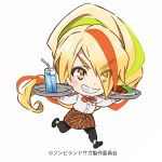 1girl absurdres black_footwear black_pants blonde_hair bow bowtie chibi commentary_request cup drink drinking_glass eyes_visible_through_hair food full_body green_hair grin hair_over_one_eye high_ponytail highres long_hair multicolored_hair nikaidou_saki no_socks official_art orange_hair pants shirt smile solo streaked_hair tray waitress white_background white_shirt zombie_land_saga