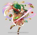 1girl bangs boots bow breasts cecilia_(fire_emblem) christmas christmas_ornaments christmas_present closed_eyes dated fire_emblem fire_emblem:_fuuin_no_tsurugi fire_emblem_heroes gold_footwear green_bow green_eyes green_hair kita_senri long_hair looking_at_viewer nintendo official_art open_mouth simple_background solo yellow_bow