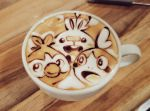 coffee creatures_(company) cup drink ears game_freak gen_8_pokemon george_(yamamoto_kazuki) grookey latte_art looking_at_viewer nintendo no_humans open_mouth photo pokemon pokemon_(creature) scorbunny smile sobble unconventional_media