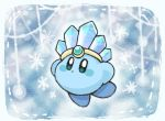 alternate_color blue_theme blush copy_ability hat ice kirby kirby_(series) mikan_38knight nintendo snowflakes solo