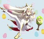 1girl animal_ears bunny_tail cleavage_cutout dress easter_egg egg fake_animal_ears fake_tail fire_emblem fire_emblem_heroes flower full_body gloves grail grey_hair gzo1206 hair_flower hair_ornament high_heels long_hair nintendo open_mouth rabbit_ears red_eyes see-through see-through_sleeves short_dress solo tail veronica_(fire_emblem) white_gloves white_legwear