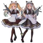 2girls 404_logo_(girls_frontline) :d alternate_costume animal_ears apron bangs bell black_footwear black_legwear blush breasts brown_hair cat_ears cat_tail closed_mouth commentary dress enmaided eyebrows_visible_through_hair fang framed_breasts frills full_body girls_frontline gloves grey_hair gun h&k_ump h&k_ump45 h&k_ump9 hair_bell hair_between_eyes hair_ornament hairclip hanato_(seonoaiko) hand_on_hip heckler_&_koch highres holding holding_gun holding_weapon jingle_bell long_hair looking_at_viewer maid maid_headdress mary_janes medium_breasts multiple_girls one_side_up open_mouth pantyhose puffy_short_sleeves puffy_sleeves red_eyes ribbon scar scar_across_eye shoes short_sleeves simple_background skin_fang smile submachine_gun tail tail_ribbon twintails twitter_username ump45_(girls_frontline) ump9_(girls_frontline) weapon white_background yellow_eyes
