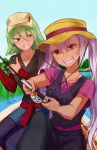 2girls alternate_costume artist_name boat chocojax dark_skin day fire_emblem fire_emblem_heroes fishing_rod green_hair hat highres holding jewelry laegjarn_(fire_emblem_heroes) laevateinn_(fire_emblem_heroes) long_hair long_sleeves multiple_girls necklace nintendo open_mouth outdoors pink_hair red_eyes short_hair short_sleeves siblings sisters sitting sweat thumbs_up twintails watercraft