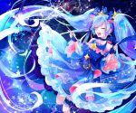 1girl :d black_gloves blue_bow blue_hair blue_shirt blue_skirt blue_sleeves bow choker closed_eyes detached_sleeves eyebrows_visible_through_hair fingerless_gloves floating_hair gloves hair_bow hatsune_miku highres holding holding_wand layered_skirt long_hair long_skirt long_sleeves open_mouth ribbon_choker shiny shiny_hair shirayuki_towa shirt skirt sleeveless sleeveless_shirt smile snowflakes solo striped striped_bow twintails very_long_hair vocaloid wand wide_sleeves