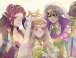 1boy 2girls animal_ears arrow black_gloves breasts brother_and_sister cleavage closed_mouth dark_skin dark_skinned_male easter_egg egg fake_animal_ears fire_emblem fire_emblem_heroes flower gloves grey_hair hair_flower hair_ornament hand_on_another's_head hat hikashi10_nsk holding holding_arrow holding_staff large_breasts loki_(fire_emblem_heroes) mask multiple_girls mysterious_man_(fire_emblem) nintendo one_eye_closed parted_lips purple_hair rabbit_ears red_eyes siblings staff veronica_(fire_emblem) violet_eyes white_gloves