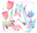 1girl animal animal_ears basket blue_eyes blue_flower blue_hair blush boots bow closed_mouth commentary detached_sleeves easter_egg egg english_commentary fake_animal_ears flower hairband hatsune_miku highres knee_boots long_hair long_sleeves multicolored multicolored_eyes pantyhose pink_eyes pink_legwear pink_shirt puffy_long_sleeves puffy_sleeves purple_bow rabbit rabbit_ears red_flower shirt short_jumpsuit sitting solo star striped striped_bow tsukiyo_(skymint) twintails very_long_hair vocaloid white_background white_footwear white_hairband white_jumpsuit white_sleeves