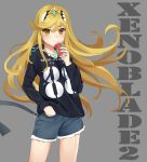 1girl bangs blonde_hair breasts casual collarbone commentary_request contemporary cup cutoffs disposable_cup drawstring drinking drinking_straw eyebrows_visible_through_hair eyes_visible_through_hair gem grey_background hand_in_pocket headpiece highres hikari_(xenoblade_2) holding holding_cup hood hoodie kiiro_kimi long_hair long_sleeves medium_breasts nintendo number short_shorts shorts simple_background solo swept_bangs tiara tsurime very_long_hair xenoblade_(series) xenoblade_2 yellow_eyes