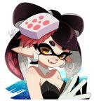+_+ 1girl :d alternate_hair_length alternate_hairstyle aori_(splatoon) bare_shoulders black_hair breasts cleavage detached_collar domino_mask earrings fangs fingers_together food food_on_head gloves gradient_hair hair_rings hands_up isamu-ki_(yuuki) jewelry looking_at_viewer mask medium_breasts medium_hair mole mole_under_eye multicolored_hair object_on_head open_mouth pink_hair pointy_ears signature smile solo splatoon splatoon_(series) splatoon_1 suction_cups symbol-shaped_pupils teeth tentacle_hair two-tone_hair upper_body white_gloves yellow_eyes