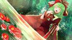 1girl absurdres arano_oki arm_ribbon blurry bow closed_eyes collared_dress depth_of_field dress eyebrows_visible_through_hair flower foliage frilled_bow frilled_ribbon frilled_shirt_collar frills front_ponytail green_hair hair_bow hair_ribbon highres kagiyama_hina music nature open_mouth outdoors red_dress red_flower ribbon singing sitting solo touhou water