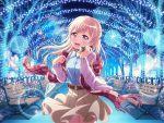 bang_dream! blonde_hair blush dress long_hair night pink_eyes shirasagi_chisato smile