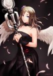 1girl artist_name bare_shoulders black_background black_dress black_legwear blue_eyes breasts brown_hair chiean cleavage closed_mouth dated dragon_nest dress elestra feathered_wings feathers female flower garter_straps hair_between_eyes hair_flower hair_ornament hands_together holding holding_staff light_smile lips long_hair looking_at_viewer solo staff standing strapless strapless_dress thigh-highs white_feathers white_wings wings