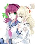 2girls angel_beats! bangs blonde_hair blush brown_eyes closed_mouth eyebrows_visible_through_hair green_eyes hair_between_eyes hair_ornament hair_ribbon highres hug hug_from_behind key_(company) long_hair long_sleeves looking_at_viewer multiple_girls open_eyes open_mouth ribbon school_uniform shirt short_hair simple_background twintails violet_eyes white_background white_shirt yuri_(angel_beats!) yusa_(angel_beats!) zuzuhashi