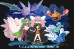 1girl bewear black_background black_hair clefable creature creatures_(company) crobat english_text flying game_freak gen_1_pokemon gen_2_pokemon gen_4_pokemon gen_7_pokemon highres holding holding_poke_ball long_hair looking_at_viewer miu_(miuuu_721) mizuki_(pokemon) nintendo poke_ball poke_ball_(generic) pokemon pokemon_(creature) pokemon_(game) pokemon_trainer pokemon_usum primarina rotom simple_background sitting tsareena