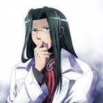 1boy black black_hair eyebrows glasses labcoat long_hair lowres red_neckwear saga saga_frontier solo