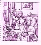 azur_lane ballpoint_pen_(medium) bangs bed bedroom book cellphone coffee_cup computer cup disposable_cup eyepatch food food_in_mouth garrison_cap hair_between_eyes hat ichinana_(dametetujin17) laptop limited_palette long_hair monitor monochrome mouth_hold pajamas phone scharnhorst_(azur_lane) teapot toast toast_in_mouth traditional_media uniform very_long_hair