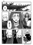 ! 1boy 1girl asaya_minoru bangs boots chest_tattoo cloak closed_mouth collarbone comic cu_chulainn_alter_(fate/grand_order) earrings eyebrows_visible_through_hair facial_mark facial_scar fate/grand_order fate_(series) greyscale hair_between_eyes hair_strand hood hood_up jack_the_ripper_(fate/apocrypha) jewelry lancer long_hair looking_to_the_side monochrome open_mouth scar scar_across_eye scar_on_cheek shoe_soles speed_lines spoken_exclamation_mark tail tattoo thigh-highs thigh_boots torn_cloak torn_clothes translation_request twitter_username walking