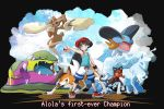 1boy black_background black_hair creature creatures_(company) english_text game_freak gen_7_pokemon highres holding holding_poke_ball legs_apart looking_at_viewer miu_(miuuu_721) nintendo poke_ball poke_ball_(generic) pokemon pokemon_(creature) pokemon_(game) pokemon_trainer pokemon_usum simple_background standing you_(pokemon)