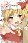 1girl anger_vein arm_grab ascot bangs blonde_hair blush bow crystal feet_out_of_frame flandre_scarlet grabbing hat hat_bow highres karasusou_nano looking_at_viewer mob_cap nose_blush one_side_up open_mouth petticoat pov reaching_out red_bow red_eyes red_skirt red_vest short_hair simple_background skirt skirt_set solo_focus sweat teeth touhou vest white_background white_headwear white_legwear wings yellow_neckwear