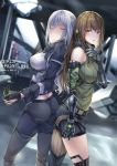3girls absurdres ak-12_(girls_frontline) ass braid breasts brown_hair butt_bump butt_crack character_request closed_eyes commentary_request egoist-001 english_text flashbang french_braid girls_frontline headphones highres large_breasts m4a1_(girls_frontline) mechanical_arm multiple_girls pants platinum_blonde_hair shorts st_ar-15_(girls_frontline) tactical_clothes