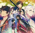 6+boys black_hair blonde_hair blue_eyes braid brown_hair earrings hair_over_one_eye haori hebino_rai horikawa_kunihiro izumi-no-kami_kanesada japanese_clothes jewelry katana male_focus monocle multicolored_hair multiple_boys mutsu-no-kami_yoshiyuki nagasone_kotetsu petals ponytail scarf side_braid smile sword tomoegata_naginata touken_ranbu translation_request tree two-tone_hair violet_eyes weapon white_hair yamato-no-kami_yasusada yellow_eyes
