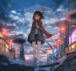 1boy 1girl bare_legs blue_shirt blue_skirt brown_coat brown_eyes brown_hair building catzz cityscape clouds cloudy_sky coat highres holding holding_umbrella lamppost long_hair long_sleeves looking_at_viewer miniskirt open_clothes open_coat original outdoors parted_lips pleated_skirt puddle rain red_scarf reflection ripples road scarf shirt shoes skirt sky sneakers street thighs transparent transparent_umbrella umbrella upside-down walking water wing_collar