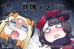 2girls abigail_williams_(fate/grand_order) bangs black_bow black_dress black_hair blonde_hair blue_eyes blush bow chibi commentary_request crossed_bandaids dress fang fate/grand_order fate_(series) flying_sweatdrops fur_trim hair_bow hair_ornament highres katsushika_hokusai_(fate/grand_order) long_hair multiple_girls neon-tetora nose_blush open_mouth orange_bow parted_bangs shaded_face sweat translation_request